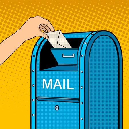 Hand drops letter into mailbox pop art retro vector illustration. Comic book style imitation.