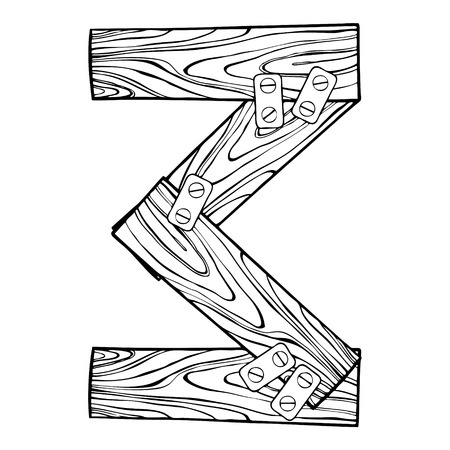 Wooden number 3 engraving vector illustration Фото со стока - 91276155