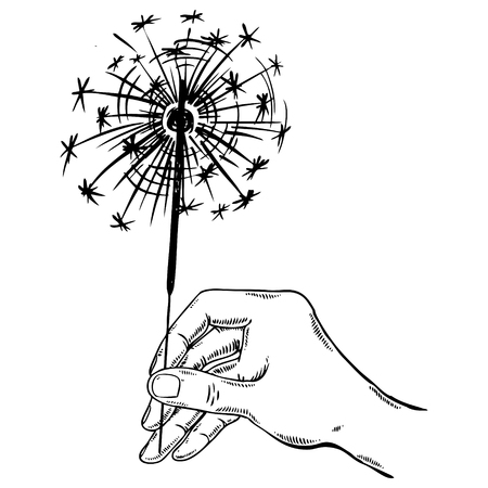 Sparkler in hand engraving vector illustration