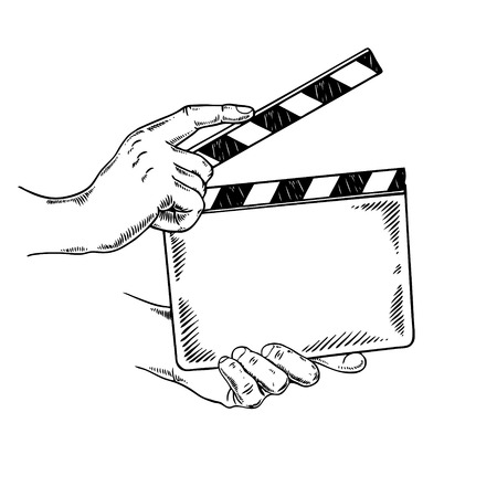 Clapperboard engraving vector illustration