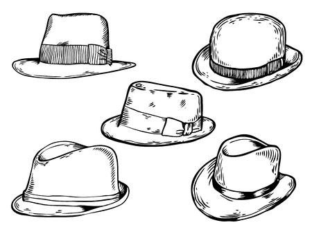 Hats engraving vector illustration