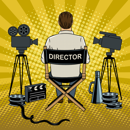 Stage director on set pop art vector illustration Banco de Imagens