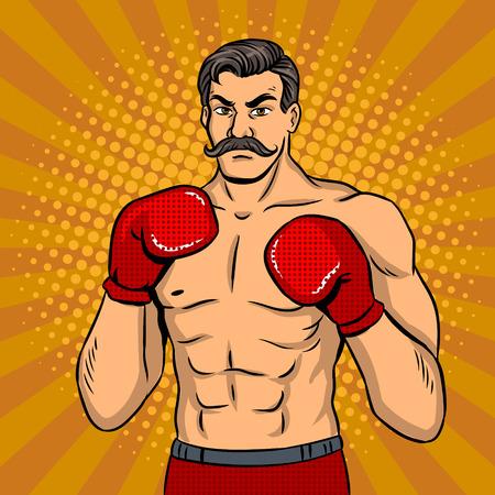 Vintage boxer fighter with mustache pop art vector 版權商用圖片