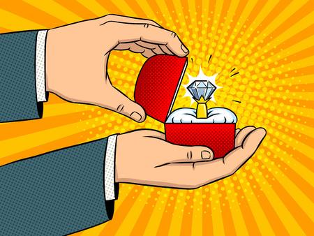 Handen met kostbare diamantring pop-art retro vectorillustratie. Aanzoek metafoor. Imitatie van een stripboek. Stock Illustratie