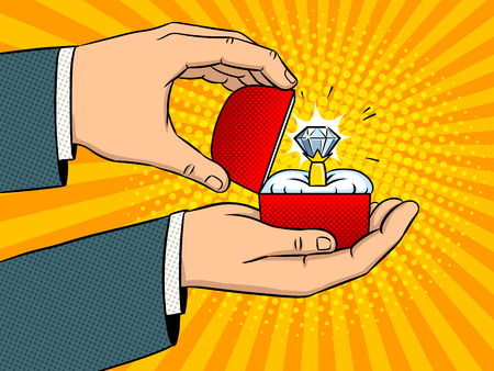 Hands with precious diamond ring pop art retro vector illustration. Marriage proposal metaphor. Comic book style imitation. Ilustração
