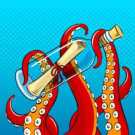 Tentacles of octopus holding a bottle icon. Illustration