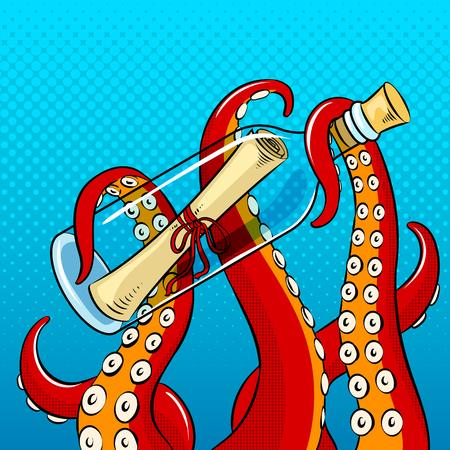 Tentakels van octopus die een flessenpictogram houden.
