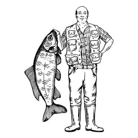 魚ベクトルイラストを持つ漁師 写真素材 - 91673800