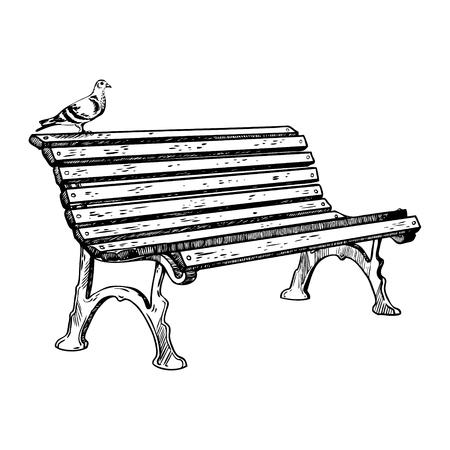 Park bench engraving vector illustration Stok Fotoğraf - 91673802