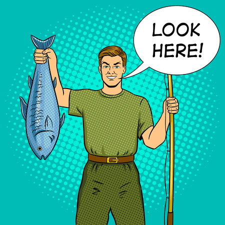 Fisherman with fishing rod and fish pop art vector