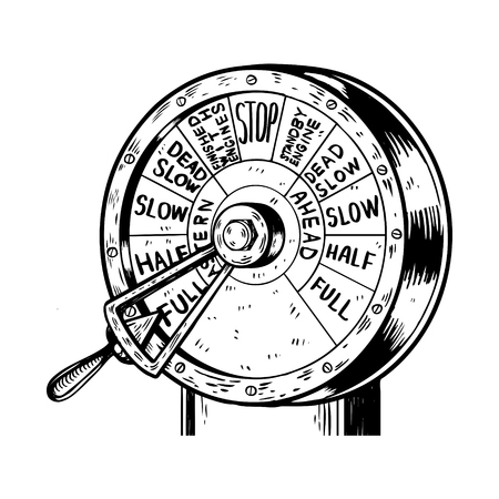 Commande de moteur télégraphe gravure vector illustration. Imitation de style Scratch board. Image dessinée à la main.