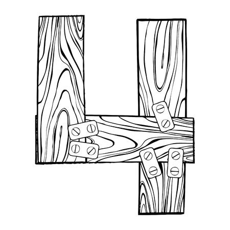 Illustration vectorielle en bois numéro 4 de gravure. Art de la police. Style à gratter imitation. Image dessinée à la main. Banque d'images - 91673807