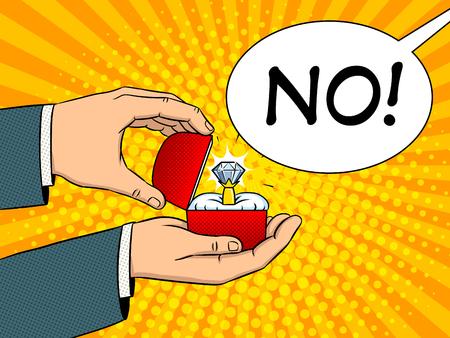 Handen met kostbare diamantring pop-art retro vectorillustratie. Aanzoek metafoor. Imitatie van een stripboek. Stockfoto
