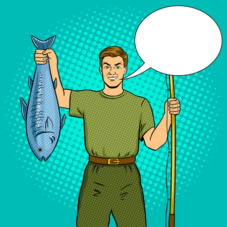 Fisherman with fishing rod and fish caught pop art retro illustration.