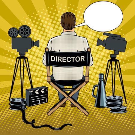 Stage director on set pop art vector illustration Illustration