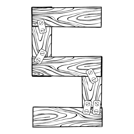 Wooden number 5 engraving vector illustration. Font art. Scratch board style imitation. Hand drawn image.