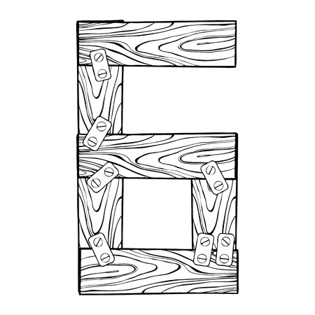 Wooden number 6 engraving vector illustration. Font art. Scratch board style imitation. Hand drawn image.