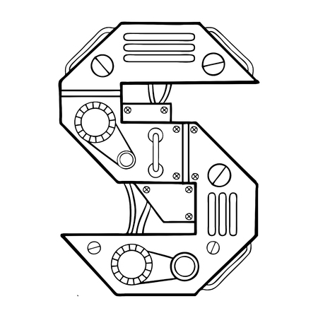Mechanical letter S engraving vector illustration Banco de Imagens