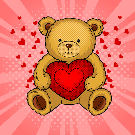 Teddy bear toy with heart pop art vector Иллюстрация