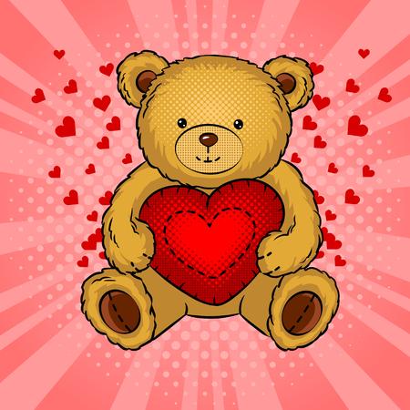 Teddy bear toy with heart pop art vector Vectores