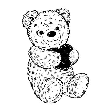 Teddy bear engraving vector illustration