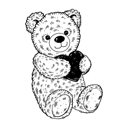 Teddybeer gravure vectorillustratie