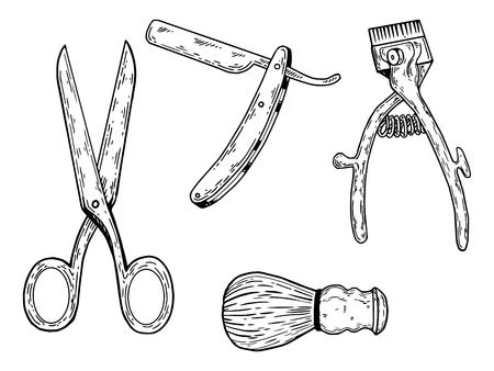 이발사 도구 그림 조각. 스크래치 보드 스타일 모방. 손으로 그린 된 이미지입니다. 일러스트