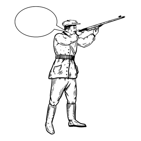Hunter with rifle gun aiming at sky engraving vector illustration. Scratch board style imitation. Hand drawn image.