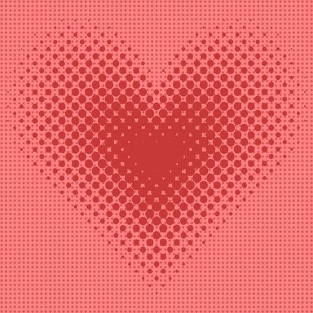 Heart halftone background vector illustration.