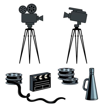 Stage movie tools pop art style illustration. Illustration
