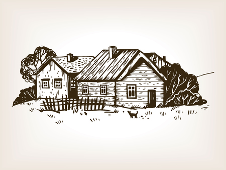 Rural landscape engraving illustration.