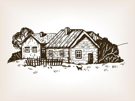 Rural landscape engraving illustration.