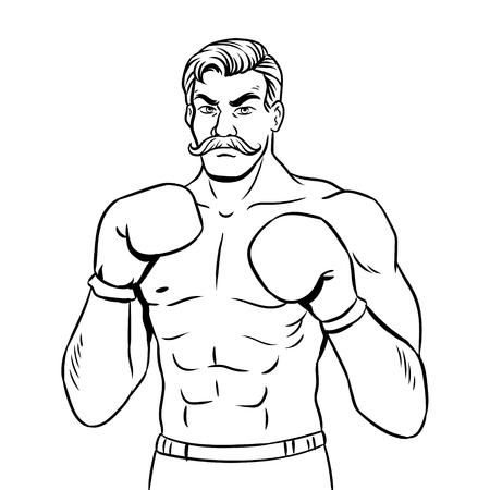Illustrazione di libro da colorare del combattente del pugile dell'annata. Archivio Fotografico - 92158781
