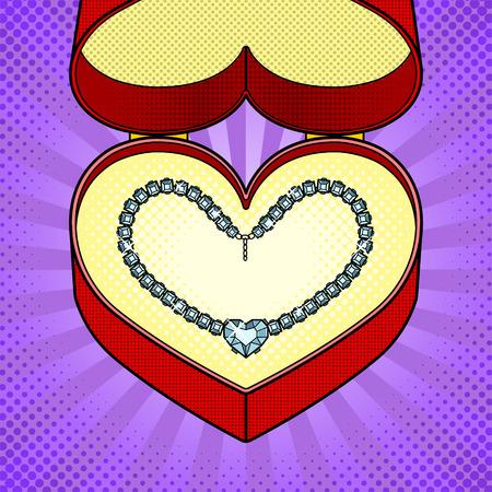 Diamanten halsketting hart in pop-art vector geschenkdoos