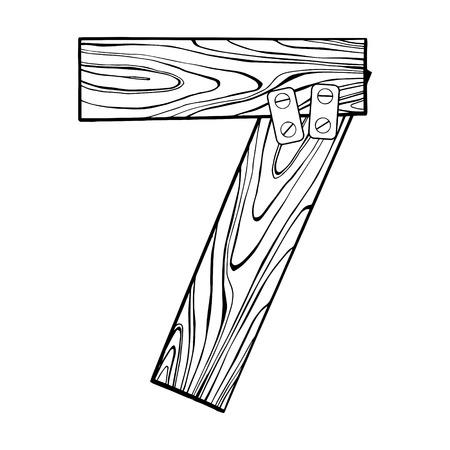 Numéros en bois 7 gravure illustration vectorielle Banque d'images - 92097840