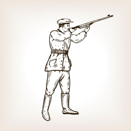 Hunter with rifle engraving vector illustration Foto de archivo