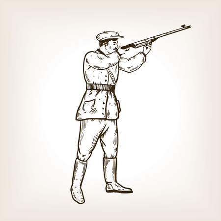 Hunter with rifle engraving vector illustration Stock Photo