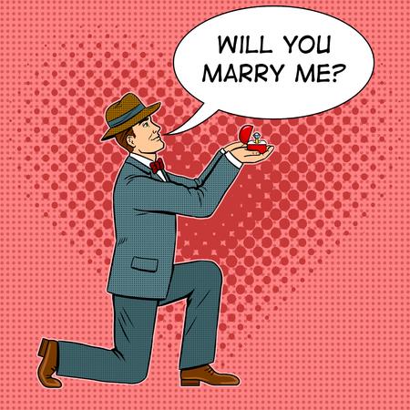 Man on one knee doing marriage proposal pop art retro vector illustration. Comic book style imitation. Illustration
