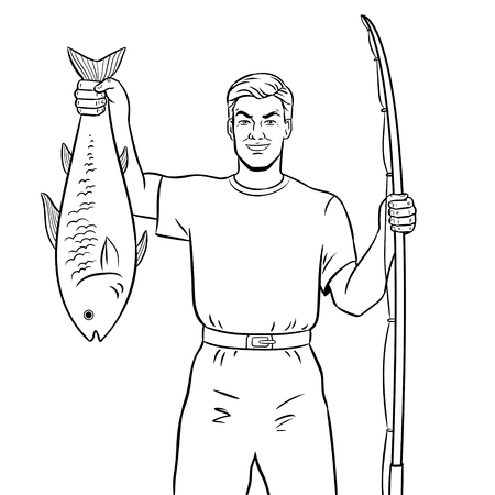 魚の塗り絵ベクトルを持つ漁師 写真素材 - 92129110