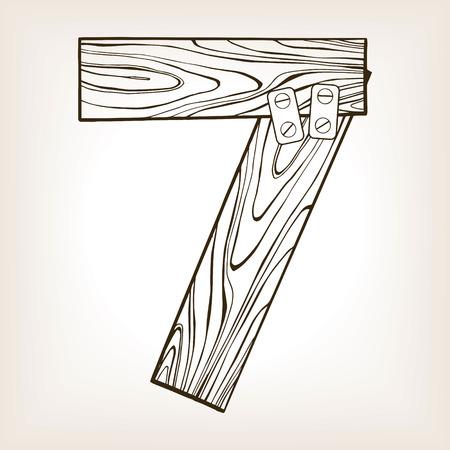 Wooden number 7 engraving illustration.