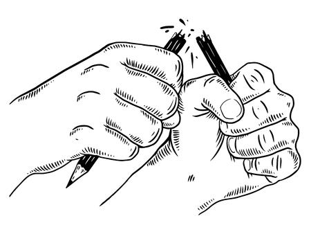 手の折れ鉛筆彫刻ベクトルイラスト