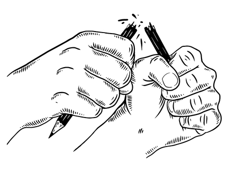 Hands break pencil engraving vector illustration