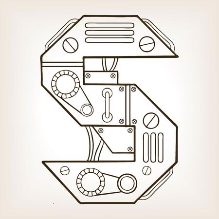 Mechanical letter S engraving illustration.