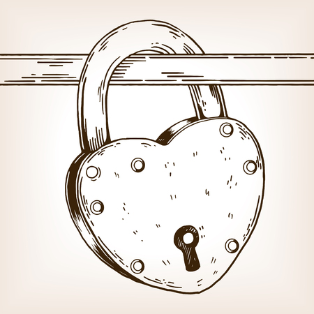 Heart shaped lock engraving vector illustration