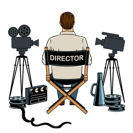 Regisseur am Set Pop-Art-Vektor-Illustration Standard-Bild - 92309236