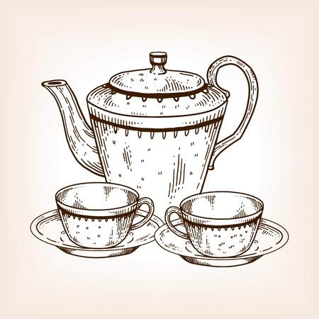 Tea set utensil engraving vector illustration