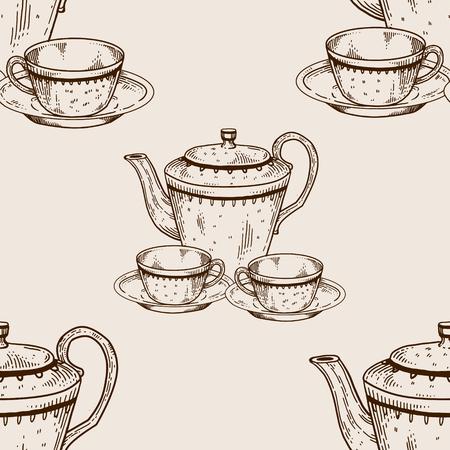 Tea set utensil seamless pattern engraving vector Illustration