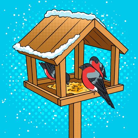 Winter vogelvoeder popart vectorillustratie Stockfoto - 92309250