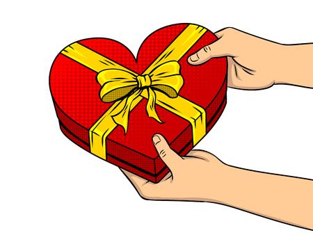 Red heart shaped gift box pop art vector Illustration