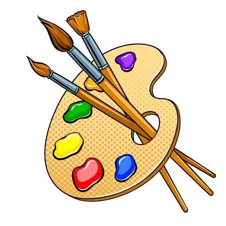 Tavolozza con colori e pennelli pop art vettoriale